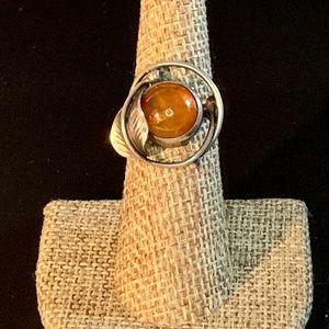 Vtg Estate Amber Sterling Silver AK 925 Ring